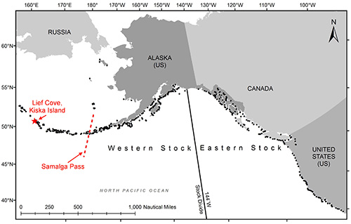 Map of Alaska and the west coast of Canada and the United States and the Western and Eastern stock Steller sea lion locations