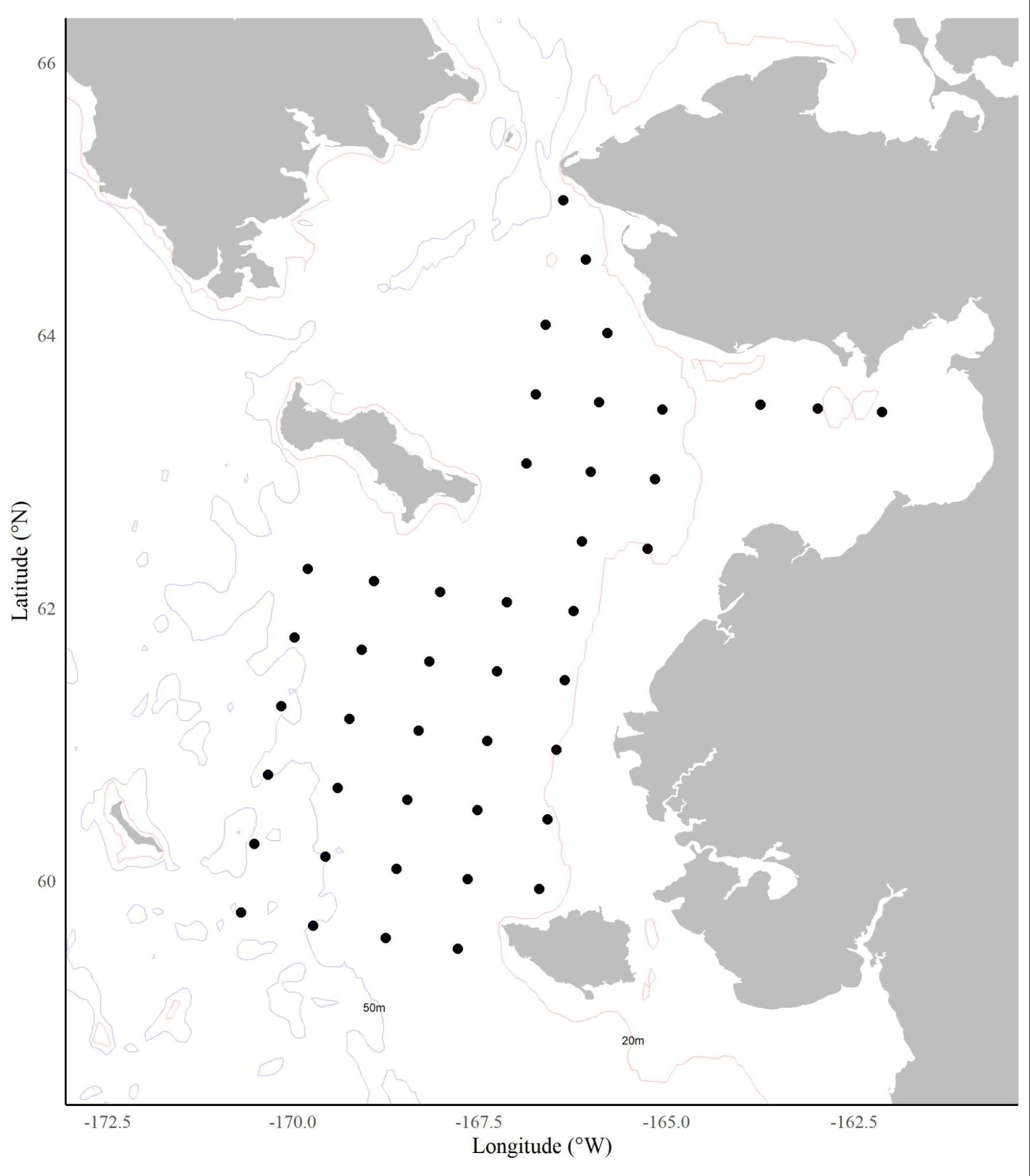 Map of station locations in the norther Bering Sea.
