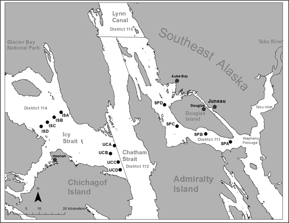 Map of survey station locations in southeast Alaska's Icy Strait, Chatham Strait, Lynn Canal and Stephens Passage.