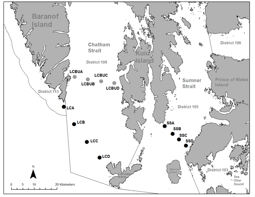 Map of survey station locations in southeast Alaska's Chatham Strait and Sumner Strait.