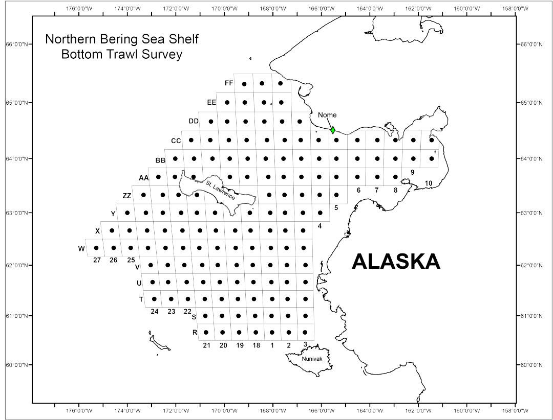 Map showing northern Bering Sea bottom trawl survey station planned sampling locations for 2017.
