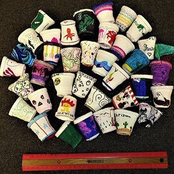 decorated crushed styrofoam cups for school student outreach efforts