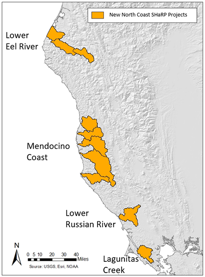 Map of North Coast SHaRP Watersheds