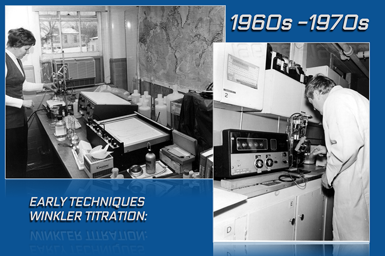 image shows two panels side by side. At the top, the panel is labeled 1960s–1970s. The panel on the left is a black and white image of a scientist standing in front of a lab table with various vials and beakers and two electronic instruments. The panel on the right shows a scientist looking down on a benchtop instrument.