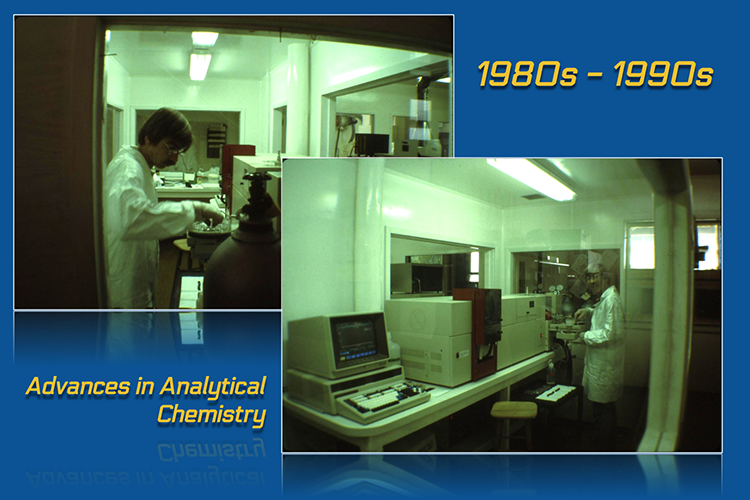 image shows two panels side by side. At the top, the panel is labeled 1980s to 1990s. The panel to the left shows a scientist in a lab coat and gloves placing sample vials in a machine. The panel on the right shows the same scientist standing in front of a large instrument and an early desktop computer.