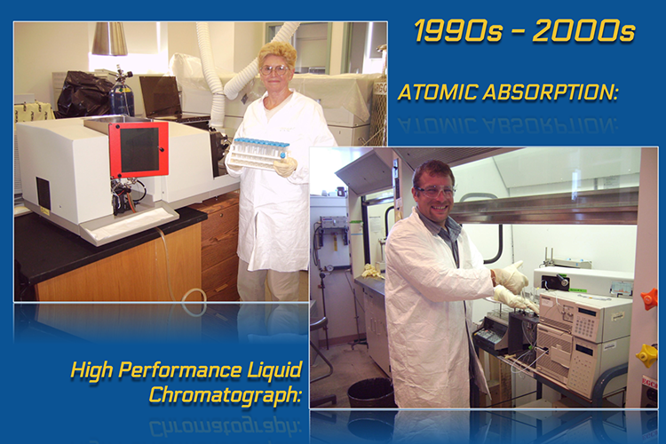 Image shows two panels side by side. At the top, the panel is labeled 1990s to 2000s. The first panel shows a chemist in a lab coat holding a tray of samples and standing in front of a white and red computerized instrument. The image is labeled 'atomic absorption'. The second panel shows a different chemist in a lab coat using a small electronic instrument inside of a laboratory fume hood. The image is labeled 'high performance liquid chromatograph'.