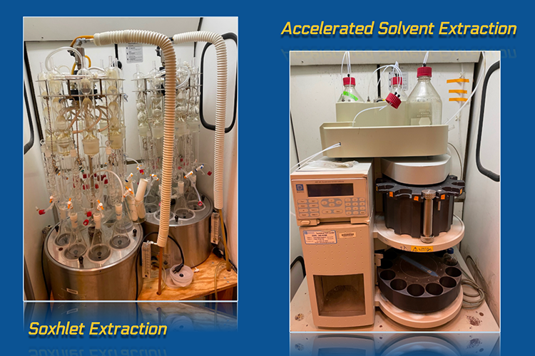 Image shows two panels side by side. The panel on the left shows an elaborate instrument of numerous glass vials, rubber tubing, and stainless steel.It is labeled Soxhlet extraction. The panel on the right shows a different instrument with a computerized component and a plastic sample carousel.  It is labeled accelerated solvent extraction.