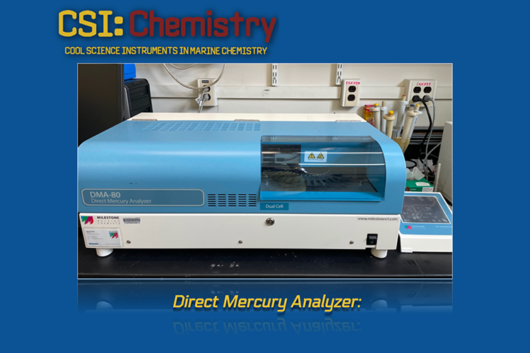 The panel has one image, labeled direct mercury analyzer. It shows a blue and white scientific instrument sitting on a table top.