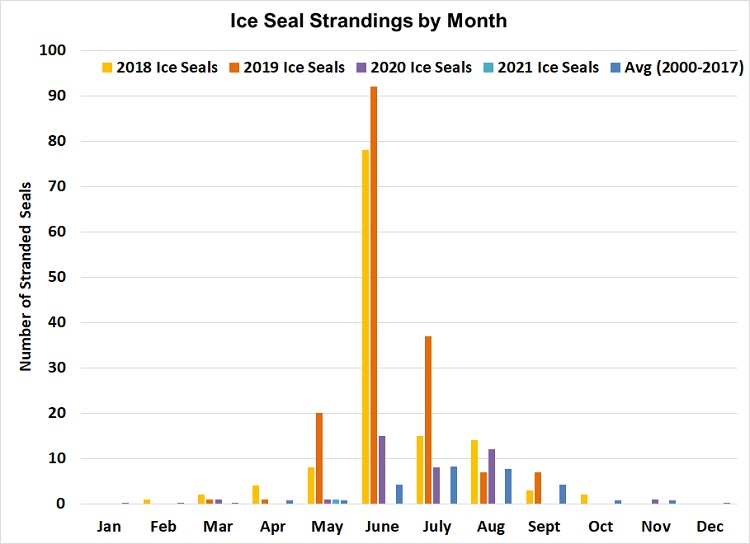 Graph of ice seal strandings by month.
