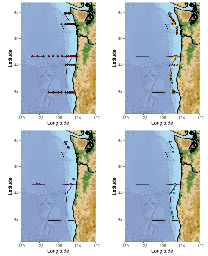 Top left: marine mammal survey effort (black lines), and oceanographic sampling stations (red diamonds). Top right: humpback whale sighting locations. Bottom left: fin whale sighting locations. Bottom right: pacific white-sided dolphin sighting locations. Credit: NOAA Fisheries