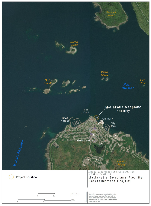 Location of Seaplane Facility in Metlakatla, Alaska