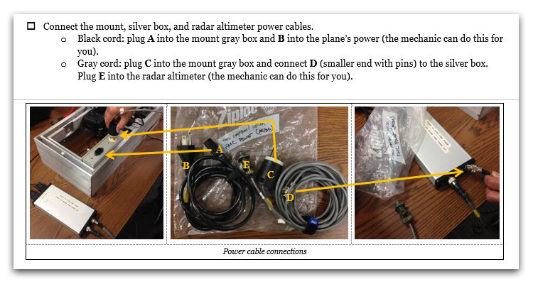 Three photos with annotated instructions showing how to plug in radar altimeter power cables.