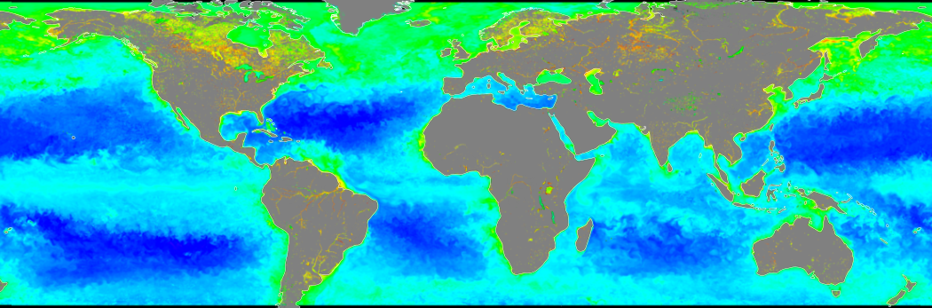 Image of global chlorophyll concentrations