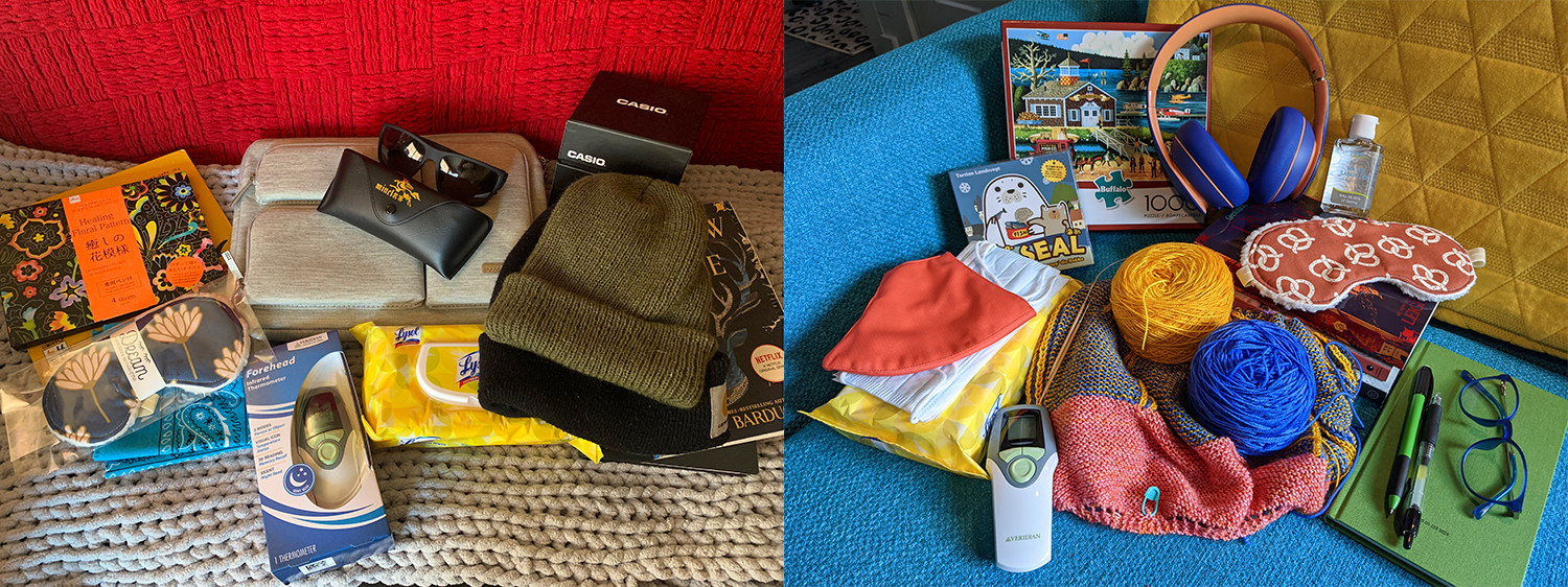 Side by side photos of items to be packed for trip.