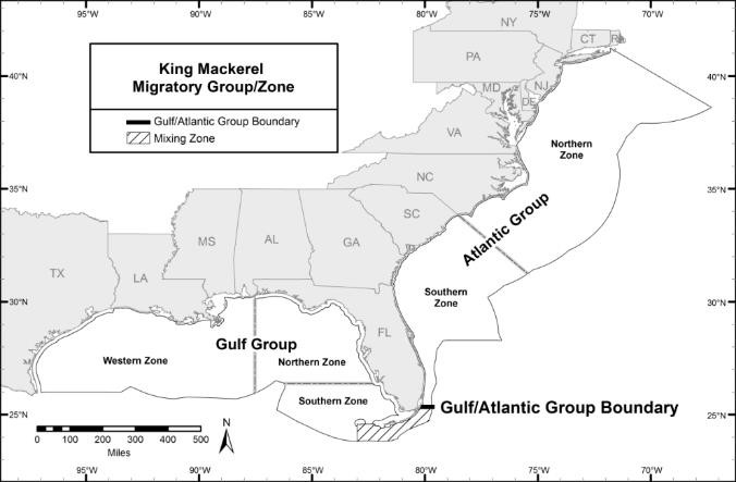 Map of the Gulf of Mexico King Mackerel Zones, including the Northern Zone