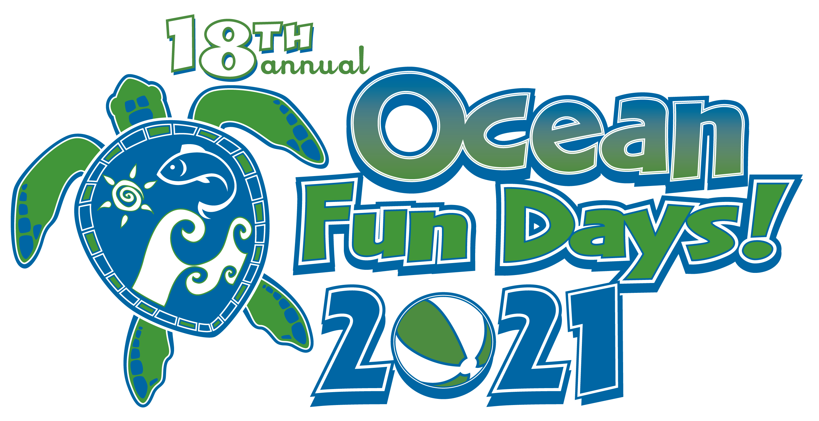 18th Annual Ocean Fun Day 2021 Logo with Sea Turtle on the left and Beach Ball.