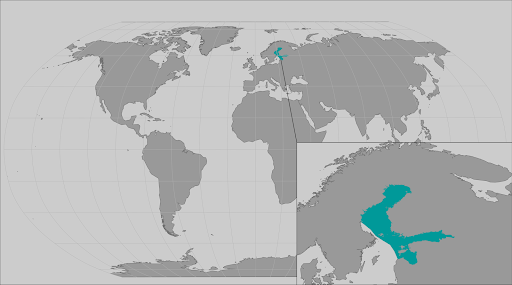 World map providing approximate representation of the Baltic subspecies of ringed seal