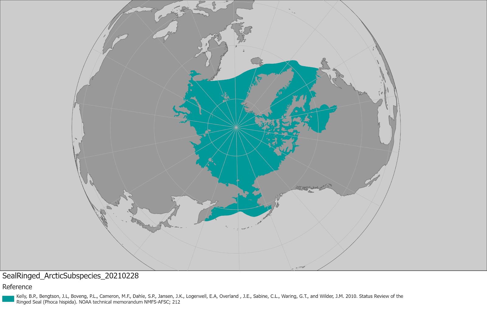 World map providing approximate representation of the Arctic subspecies of ringed seal