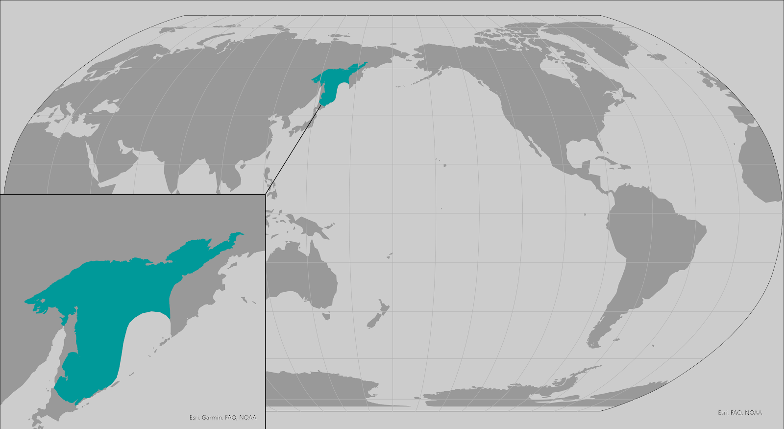World map providing approximate representation of the Okhotsk subspecies of ringed seal