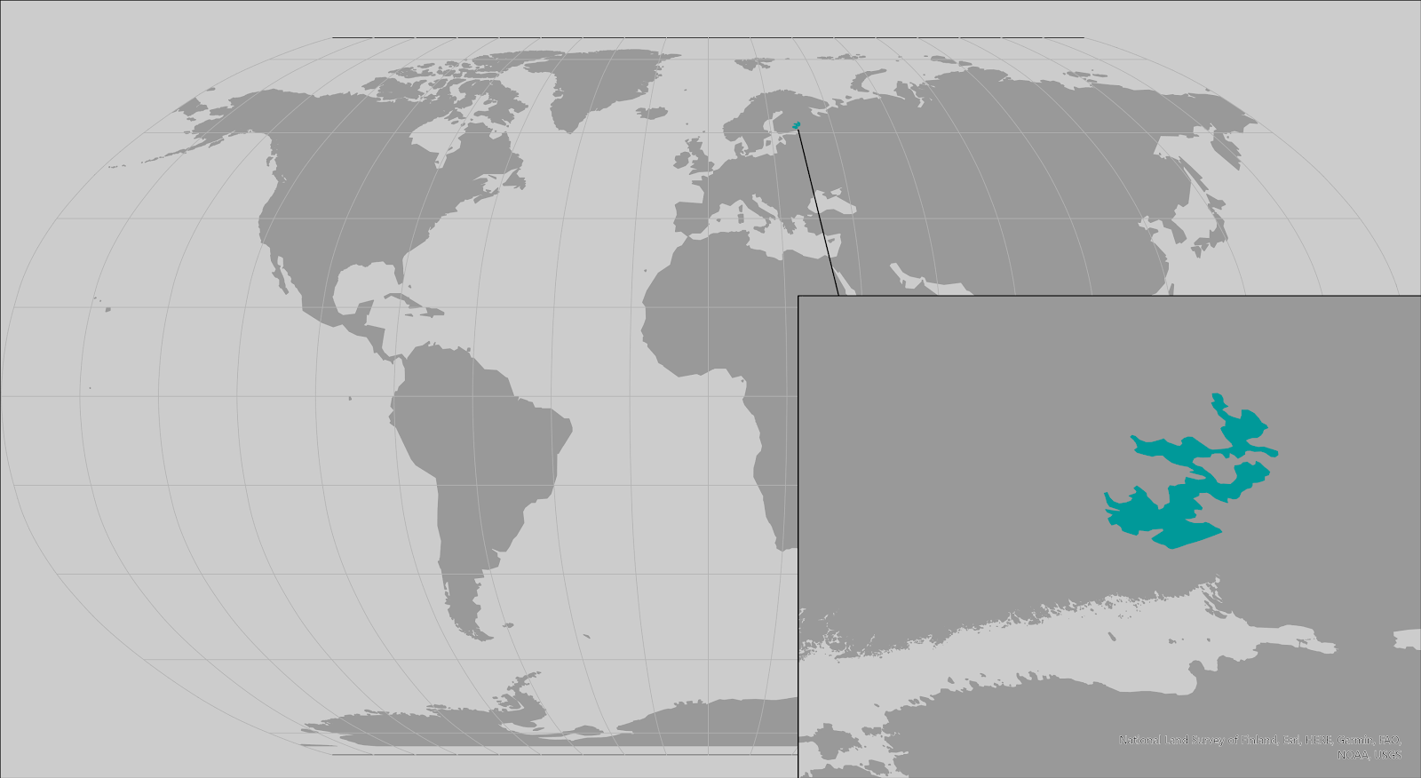 World map providing approximate representation of the Saimaa subspecies of ringed seal