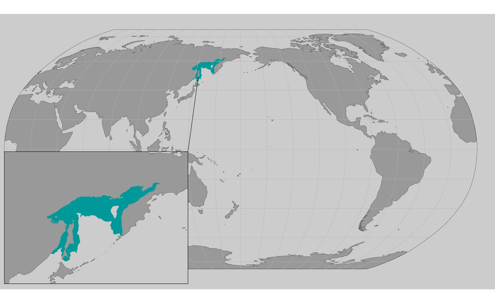 World map providing approximate representation of the Okhotsk DPS of bearded seal's range