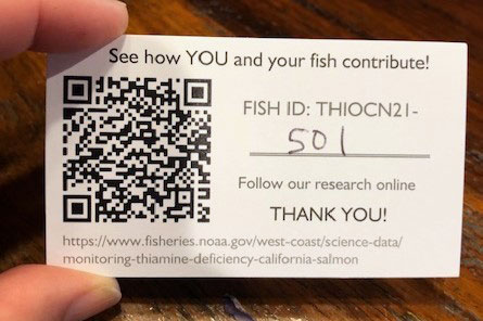 Card for anglers with fish ID number