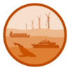 Cartoon showing wind turbines, a container ship, a whale watching boat and whale representing other human uses for the ocean.