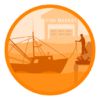 Cartoon representing a fishing port and the fishing industry.