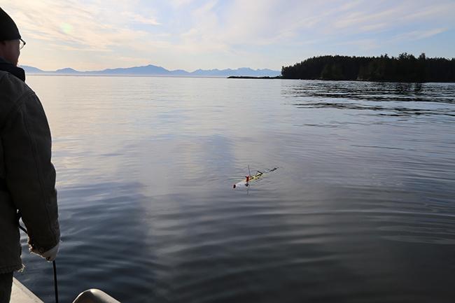 Scientists launch an autonomous underwater vehicle