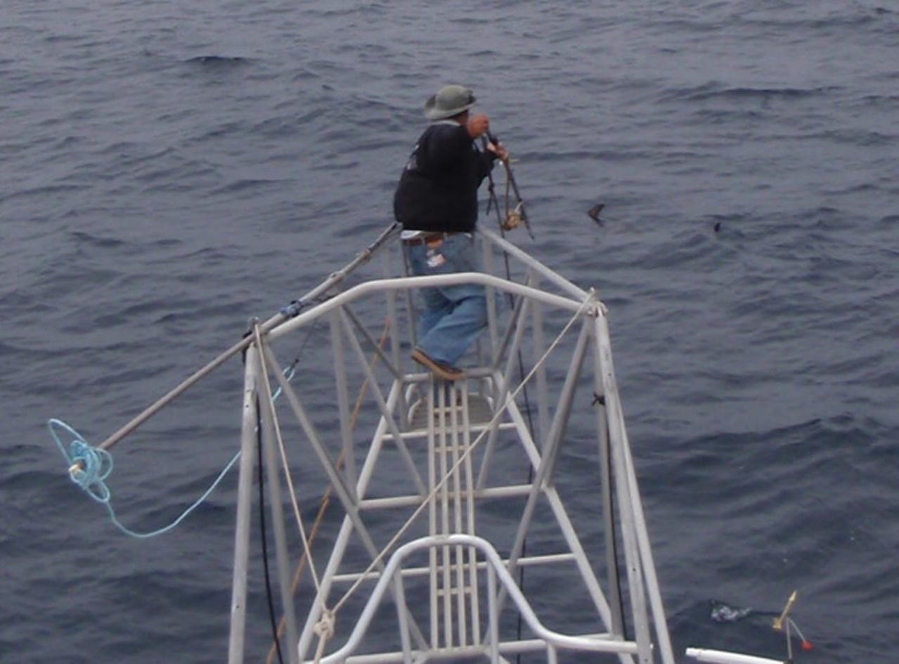 Fisherman using harpoon gear