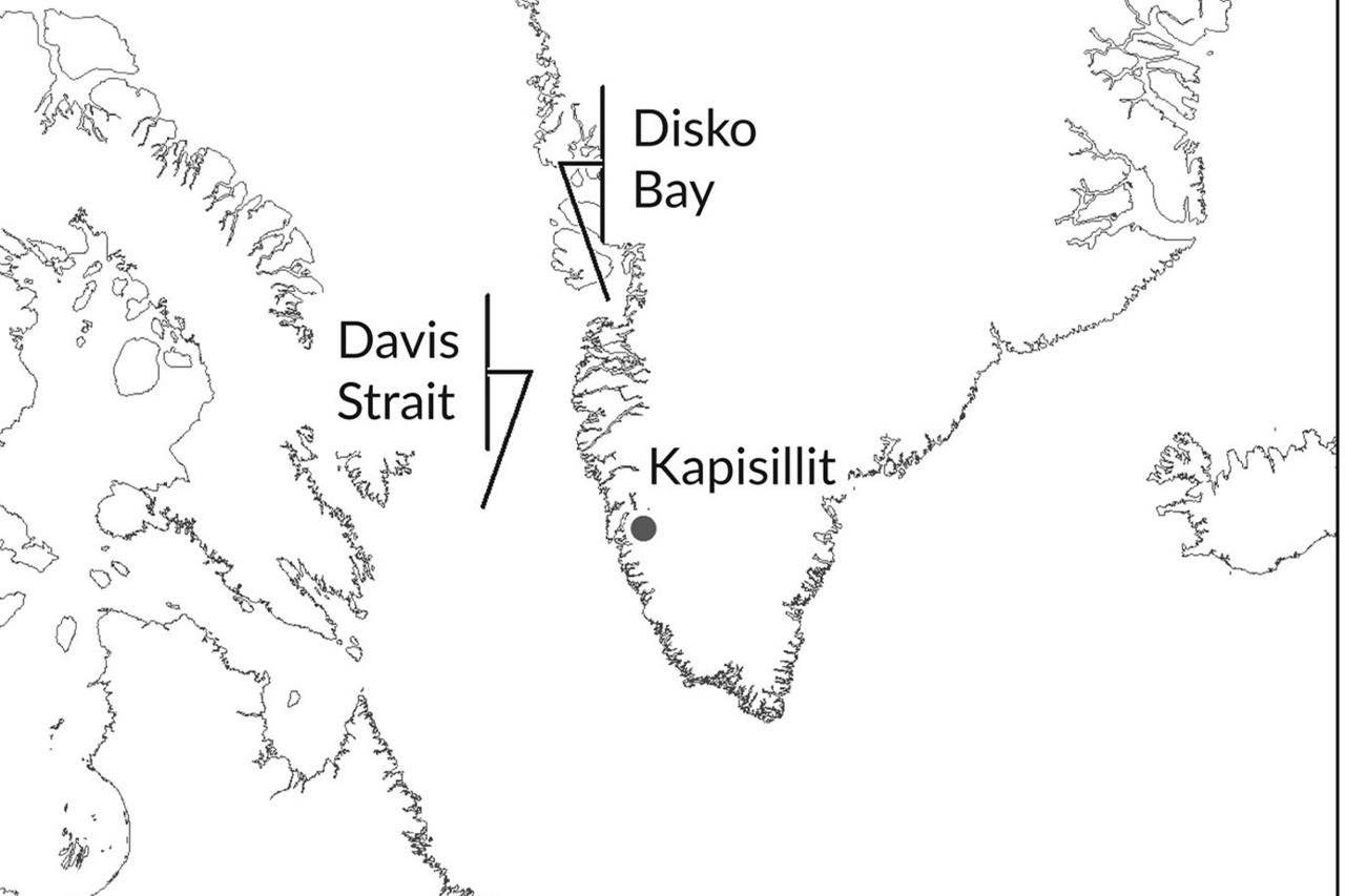Map showing southeast Green;land where study occurred