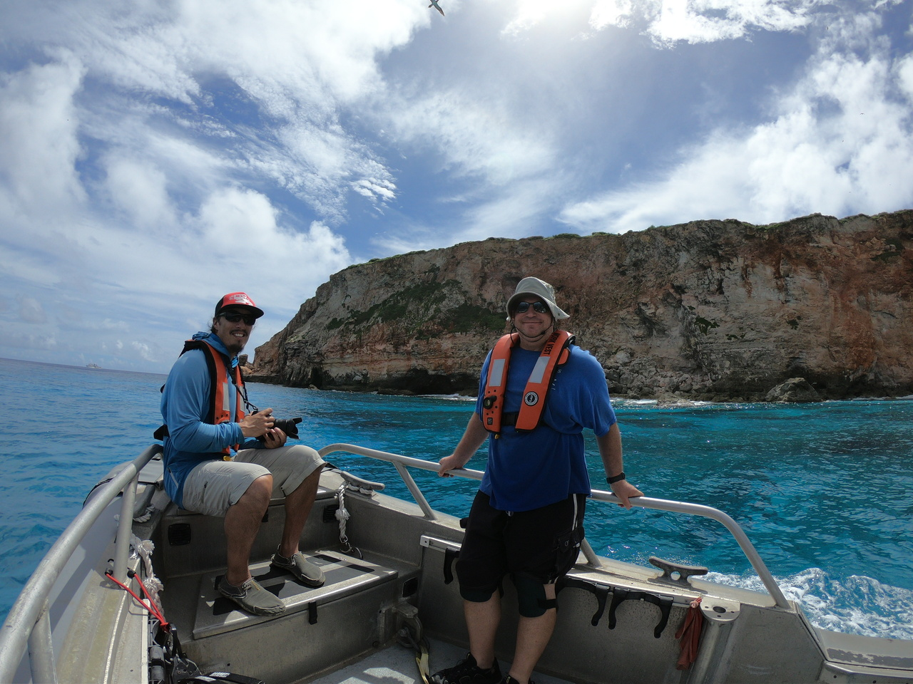 The observer team conducted a small boat survey around FDM.