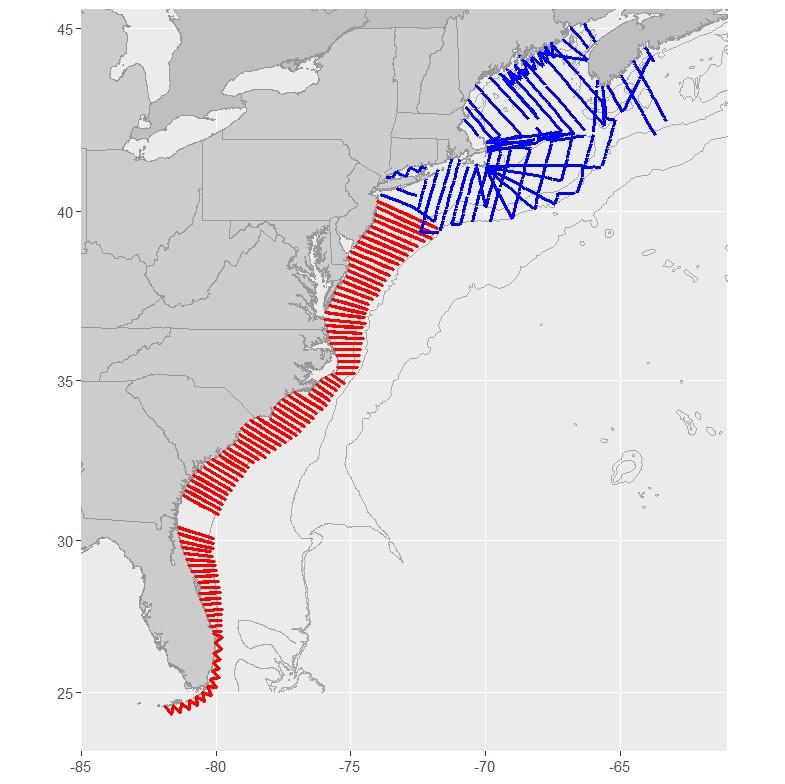 Aerial survey track lines along the U.S. East Coast