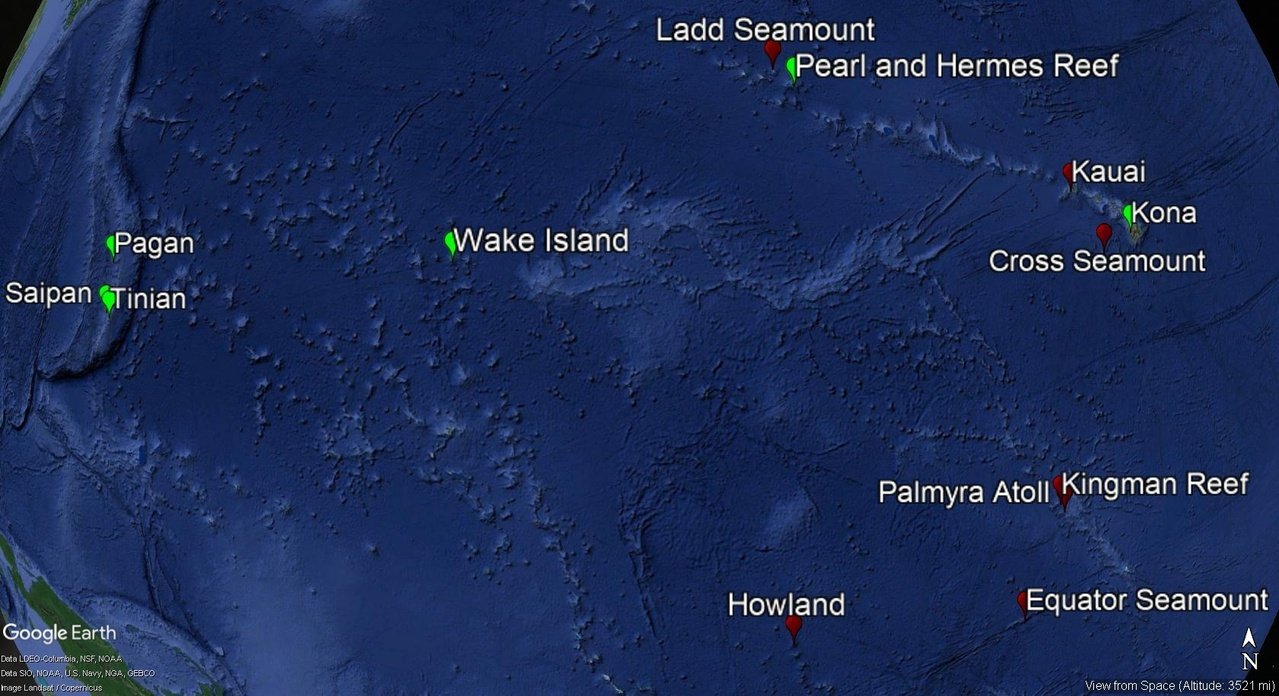 Locations of HARPs in the Pacific Islands Region to monitor cetacean occurrence and seasonality. Green locations are active as of October 2018, and red locations are currently inactive HARP locations.