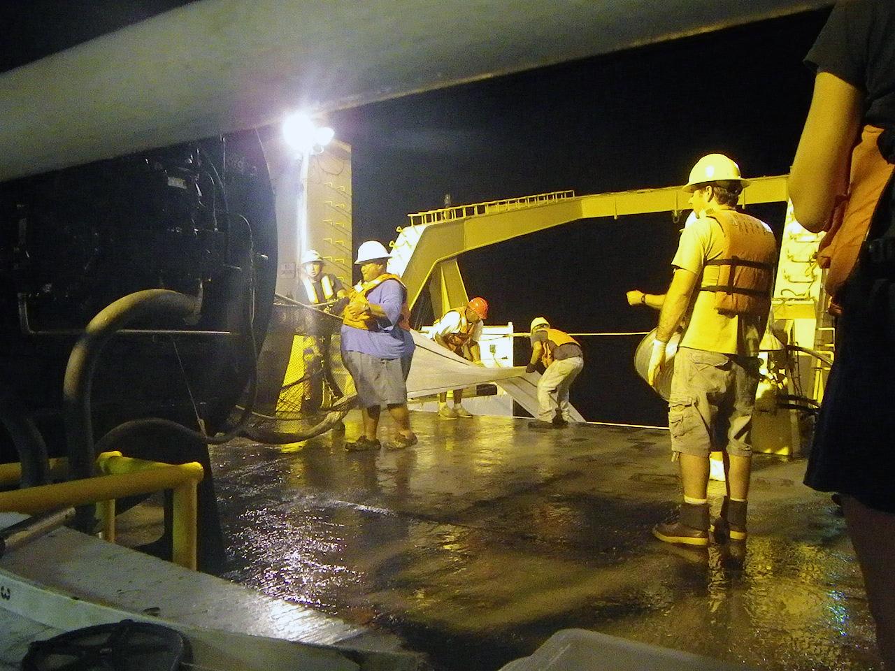 Cobb trawl night operations aboard NOAA Ship Sette
