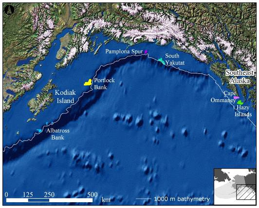 Location of AFSC multibeam mapped areas in Alaska.