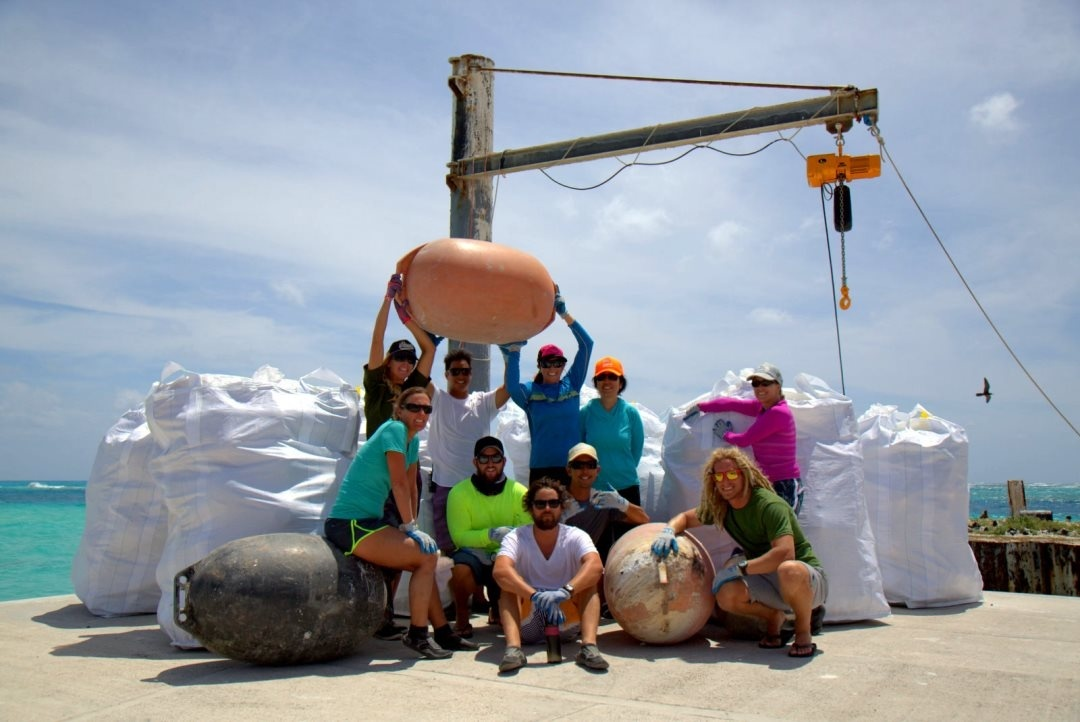 The Marine Debris team conducted operations on Tern Island of French Frigate Shoals on May 7, 2016. The team collected the debris off the shorelines, contained in bagsters, and out of harms way for the wildlife. Photo: NOAA Fisheries