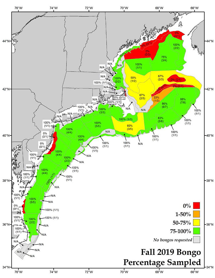 map showing locations of completed NEFSC 2019 fall bottom trawl survey plankton tows