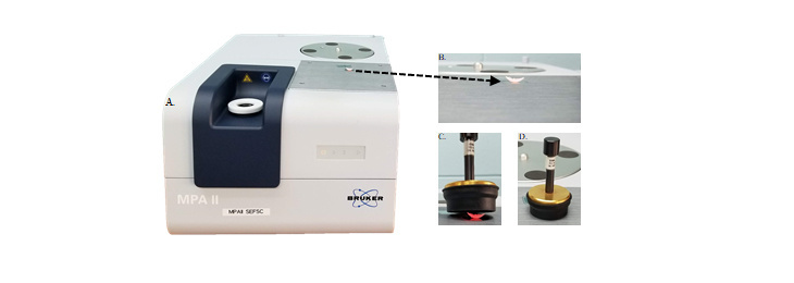 Photo of a Near-infrared spectrometer machine with detail images of the scanning process.