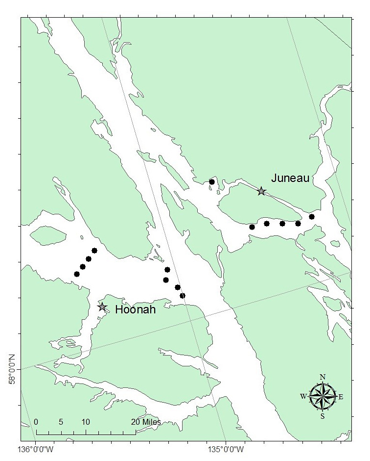 Planned survey transects for the 2018 Southeast Coastal Monitoring Survey within inside waters of southeast Alaska. Transects will be sampled during June, July, and August.