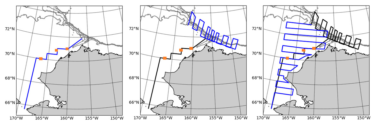 The trackline planned for the second saildrone.  It will start (left image) by surveying the three moorings we deployed last summer (orange squares). Depending on the condition and location of the sea ice as it continues to melt this summer, the saildrone will then head to the Beaufort Sea (center image, blue lines) to survey along the shelf break. Finally, it will finish off its mission by completing the second pass of our Chukchi Sea survey area (right image, blue lines).