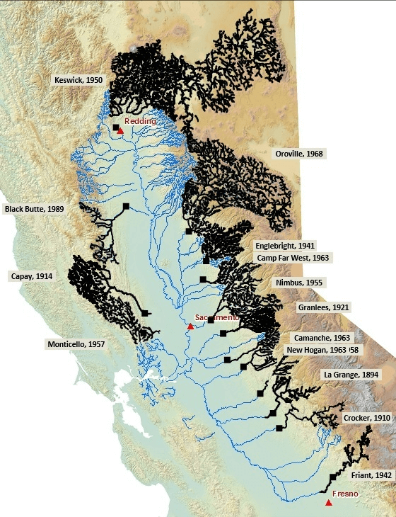 A map of historic salmon habitat in the California Central Valley. Accessible habitat is colored blue, habitat inaccessible to fish due to dams is colored black. A majority of the watersheds are shaded black.