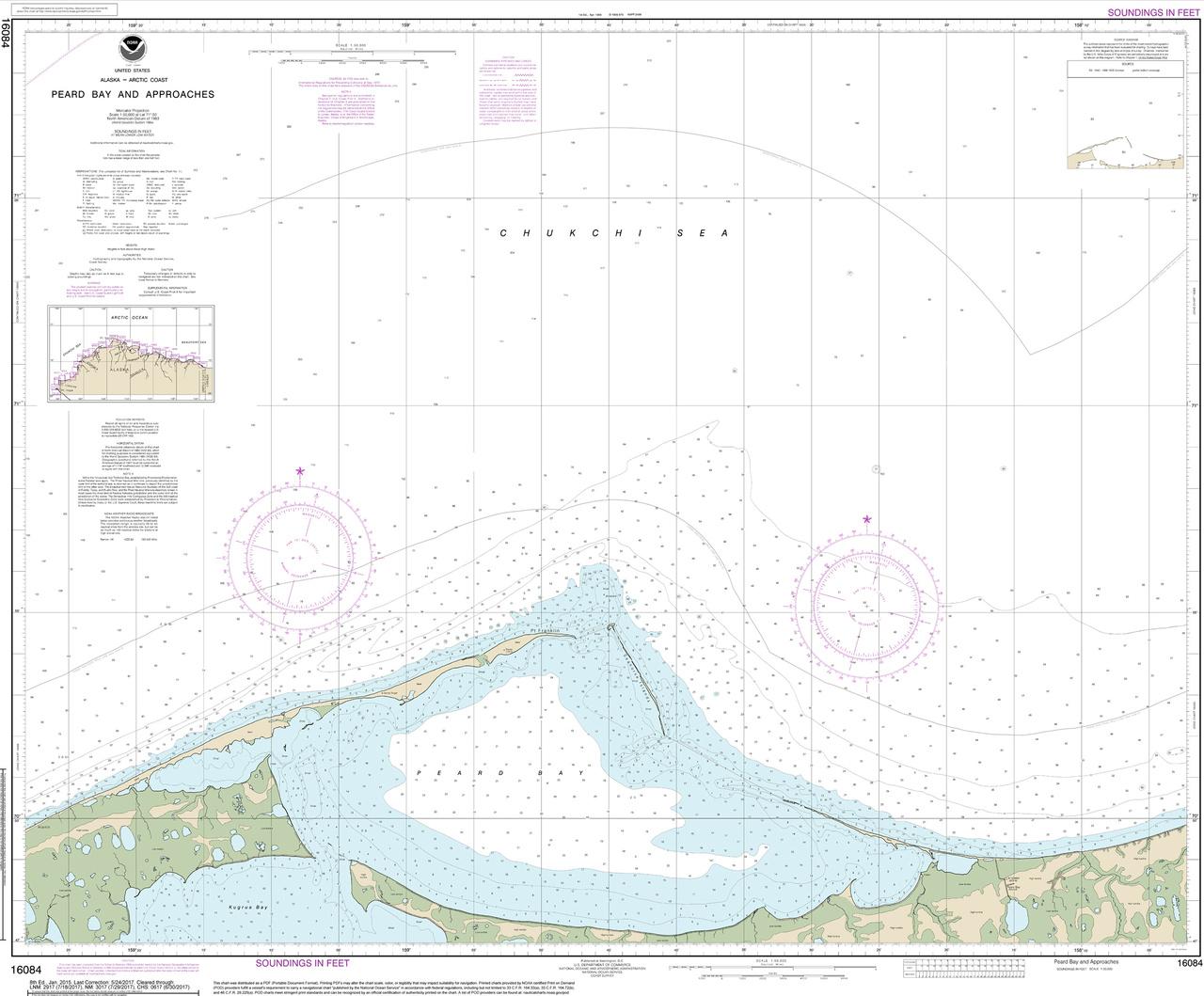 Nautical chart of Peard Bay, Alaska.