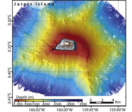 Map of seafloor depths around Jarvis Island.