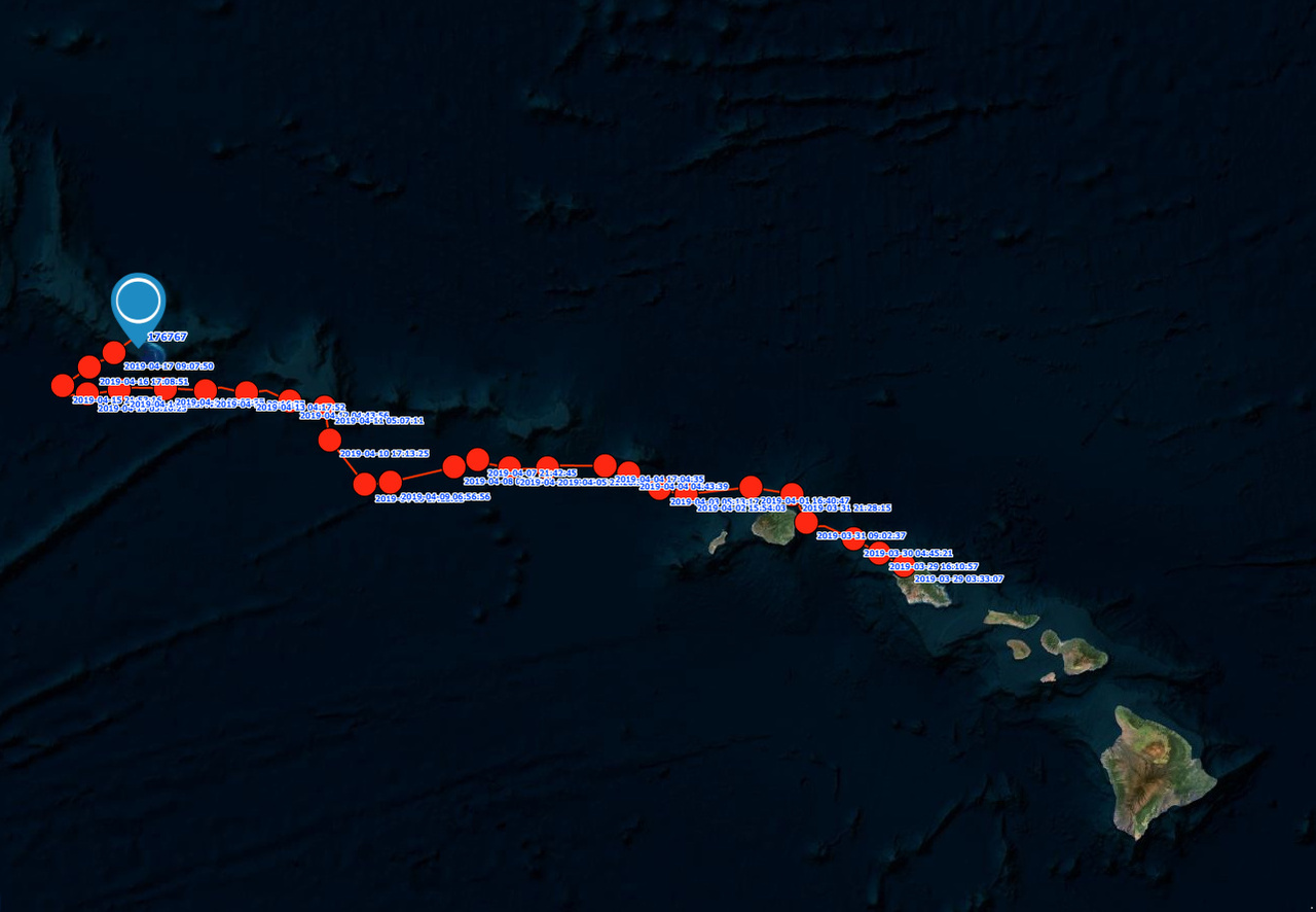 Satellite track from Oahu to French Frigate Shoals.