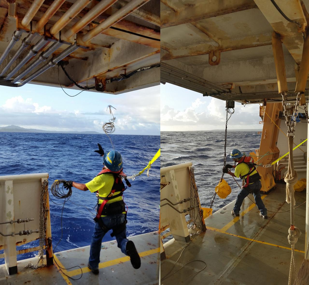 Recovering a HARP off Tinian and Saipan.