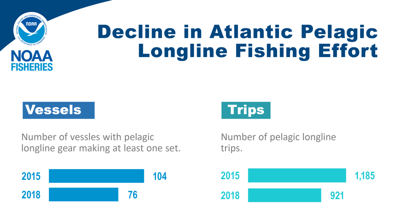 Graphs showing the decline in pelaglic longline fishing effort in 2018 compared to 2015.