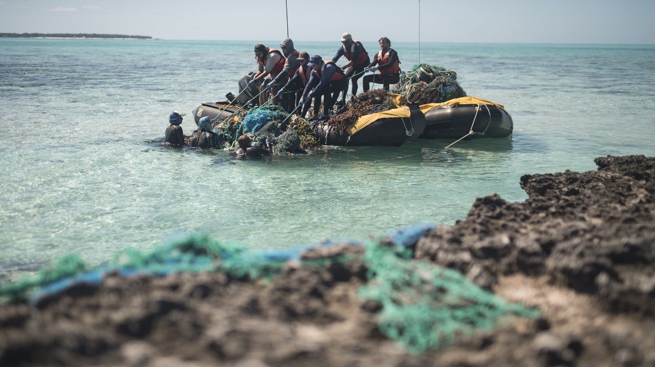 The team pulls a large mass of nets into the boat