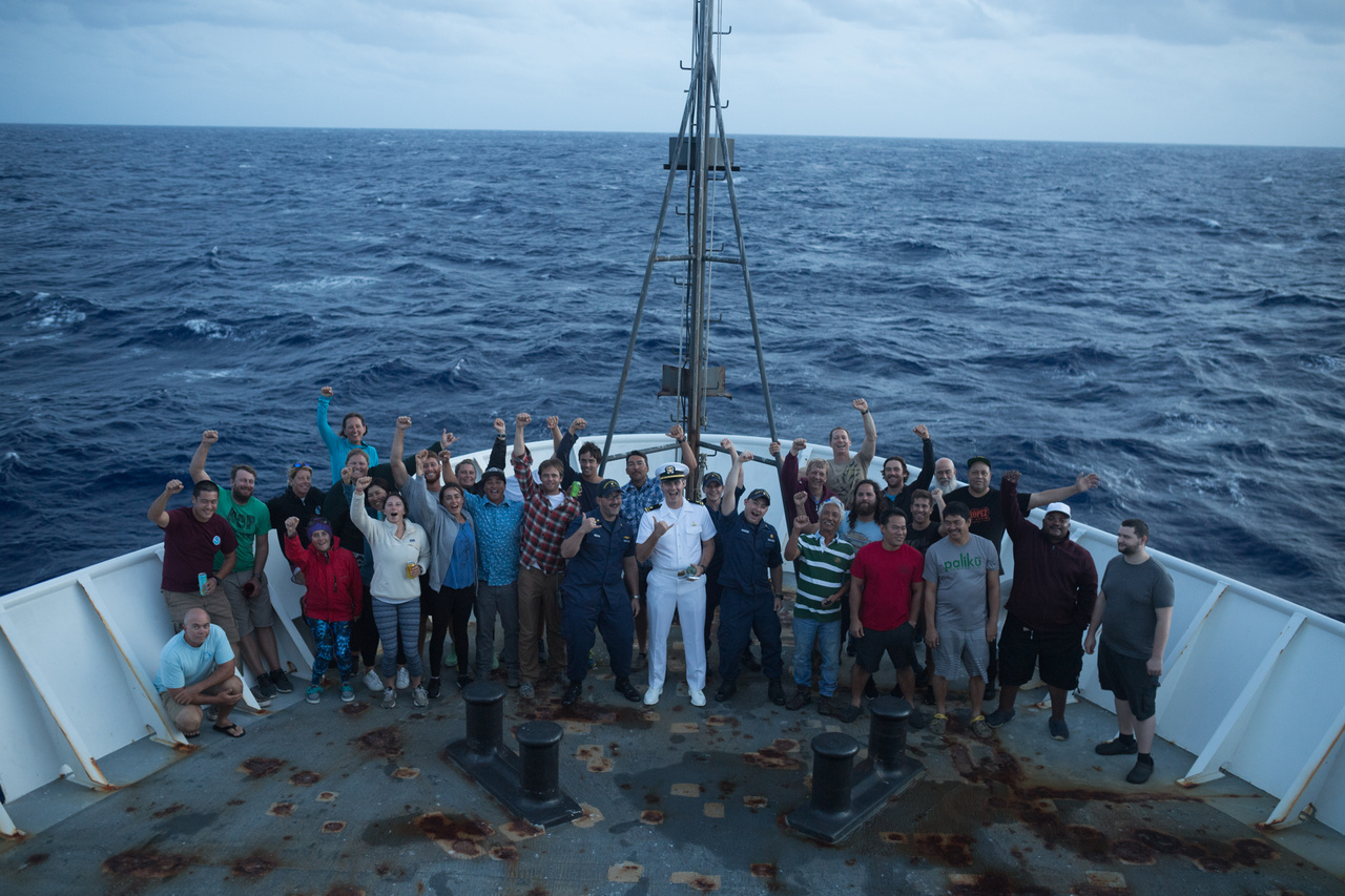 The team joined the ship's crew on the bow at sunset to honor and congratulate NOAA Corps Ensign Tim Holland's promotion