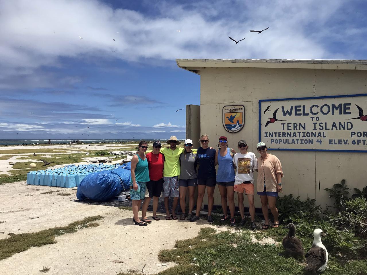 The team shows off their quarantine field-forward fashion at Tern Island, French Frigate Shoals